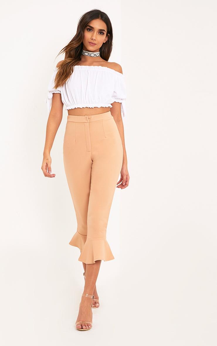 Norah White Bardot Bow Sleeve Jersey Crop Top 4