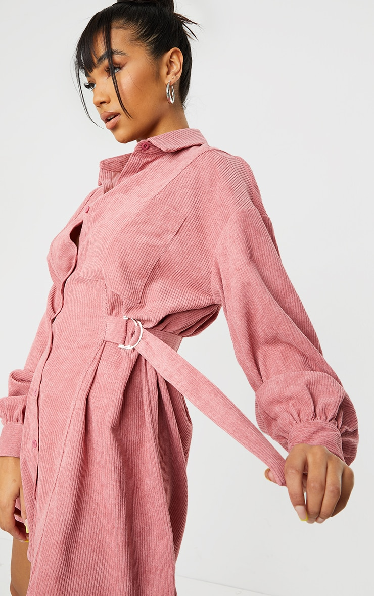 Washed Red Cord Waist Buckle Detail Shirt Dress 4