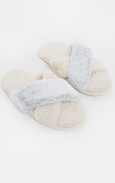 Cream & Grey Plush Crossover Slippers