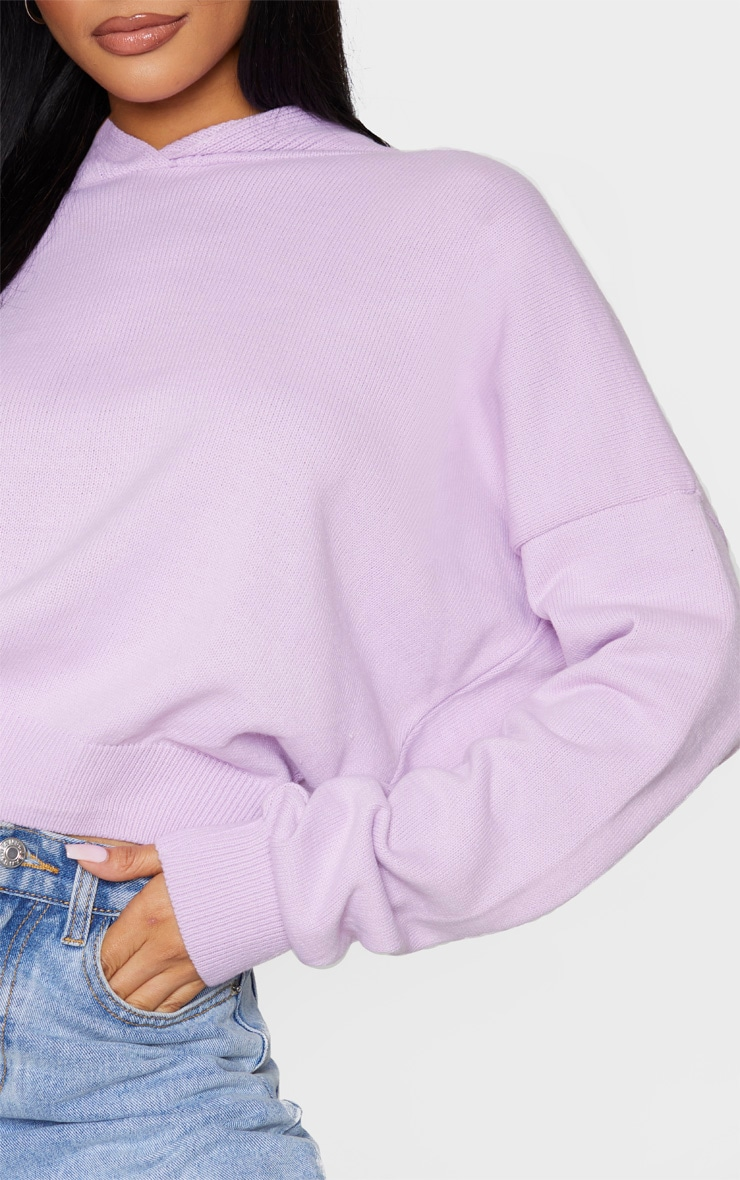 Lilac Knitted Oversized Hoodie 4