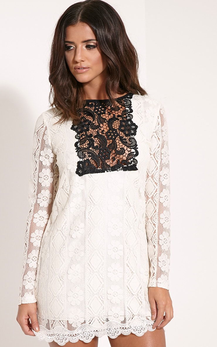 Polli Cream Lace Bib Swing Dress 1