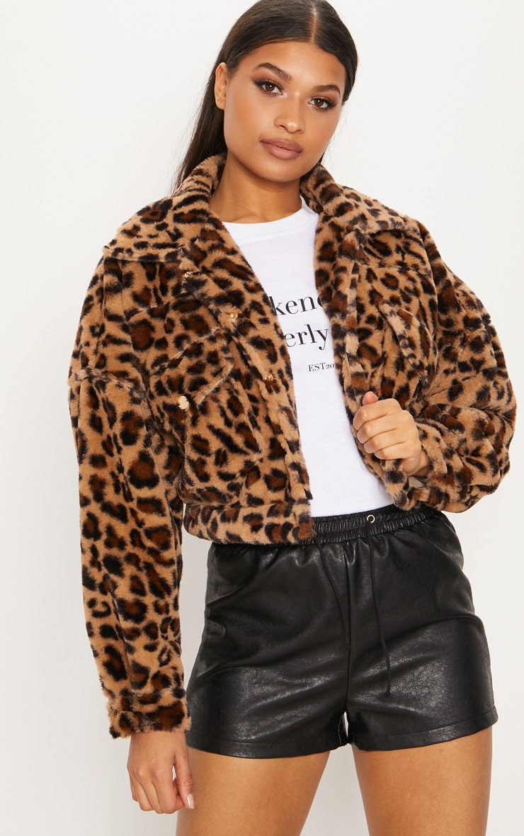 Brown  Cropped Leopard Trucker 1