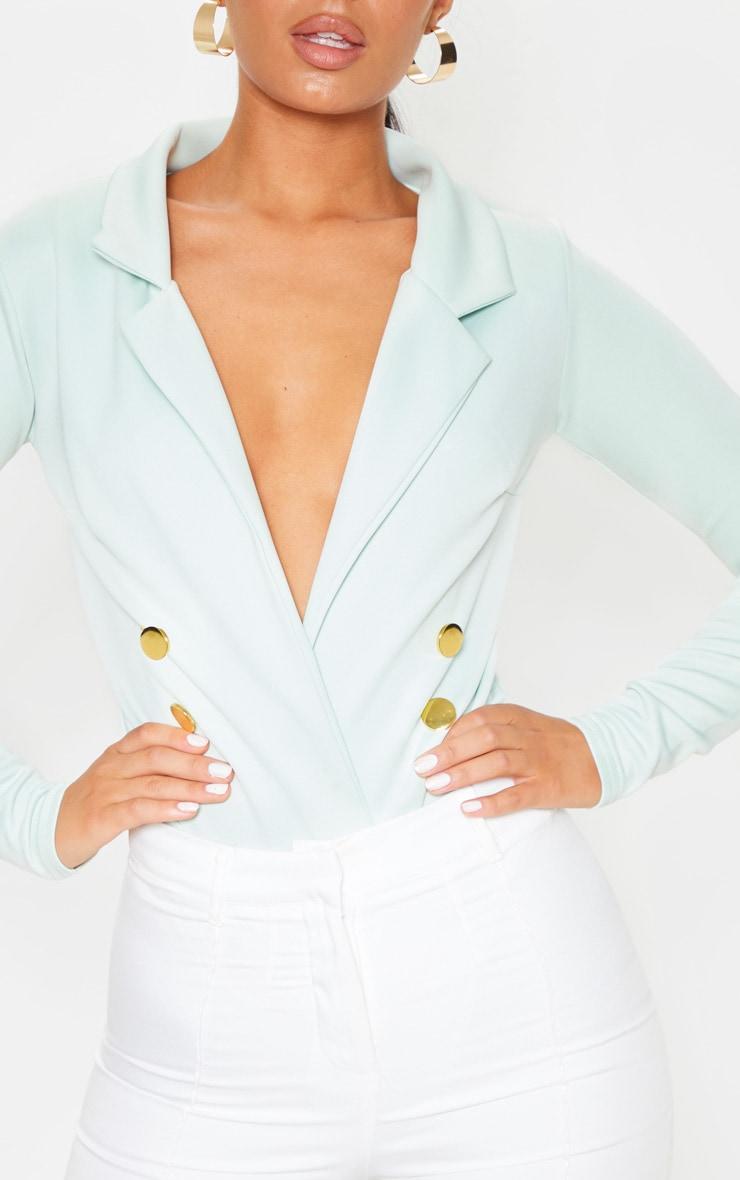 Mint Gold Button Blazer Bodysuit 6