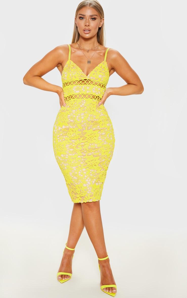 Yellow Lace Cami Midi Dress  1