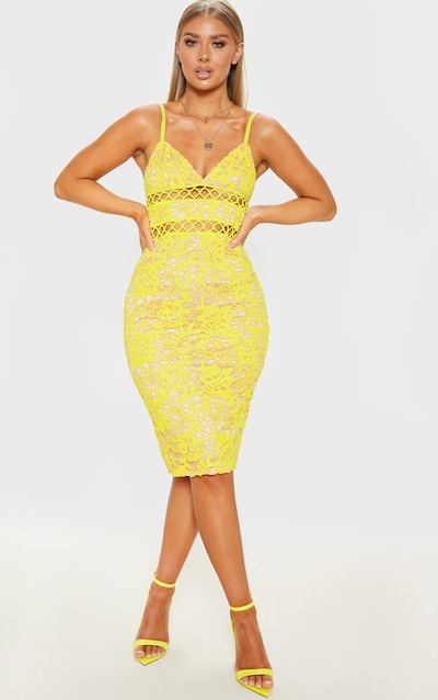 Yellow Lace Cami Midi Dress