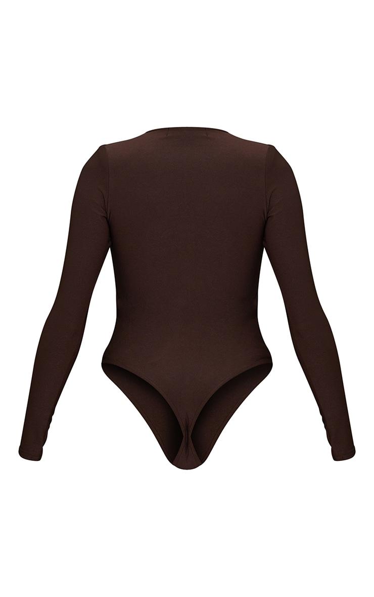 Chocolate Slinky Plunge Shoulder Pad Long Sleeve Bodysuit 6