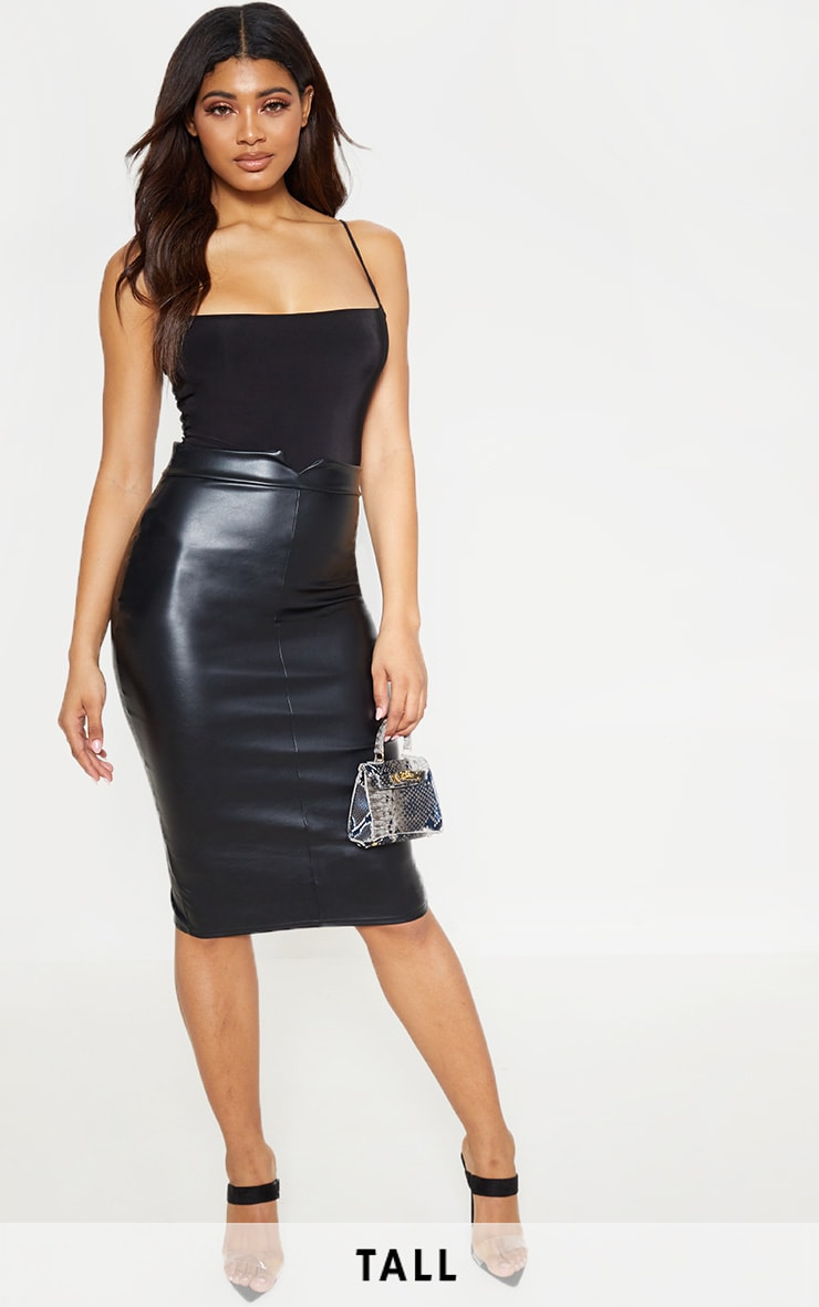 Tall Black Faux Leather Panel Midi Skirt 1
