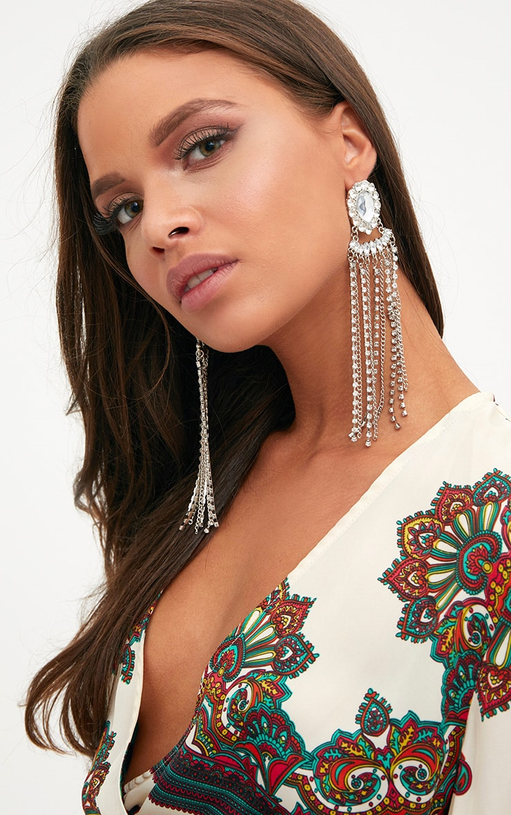 Silver Jewelled Tassel Statement Earrings 2
