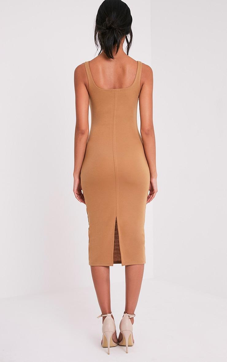 Savana Camel Square Neck Midi Dress 2