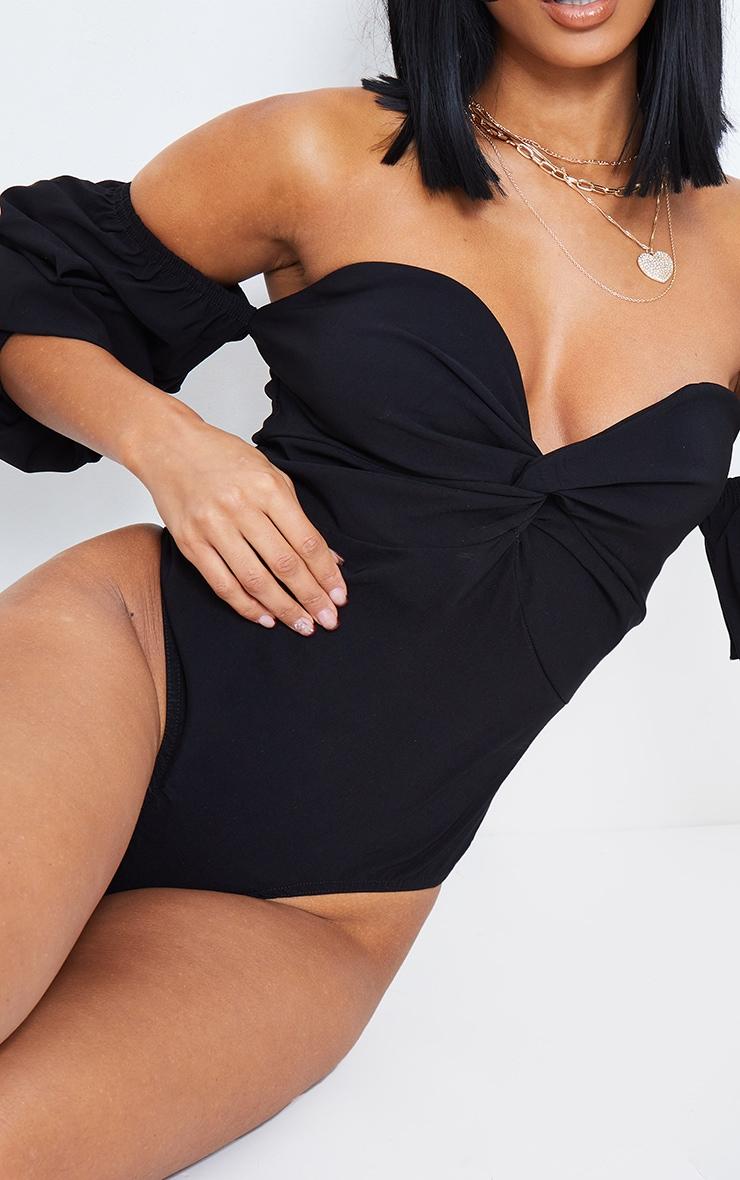 Black Woven Bardot Ruched Bodysuit 5