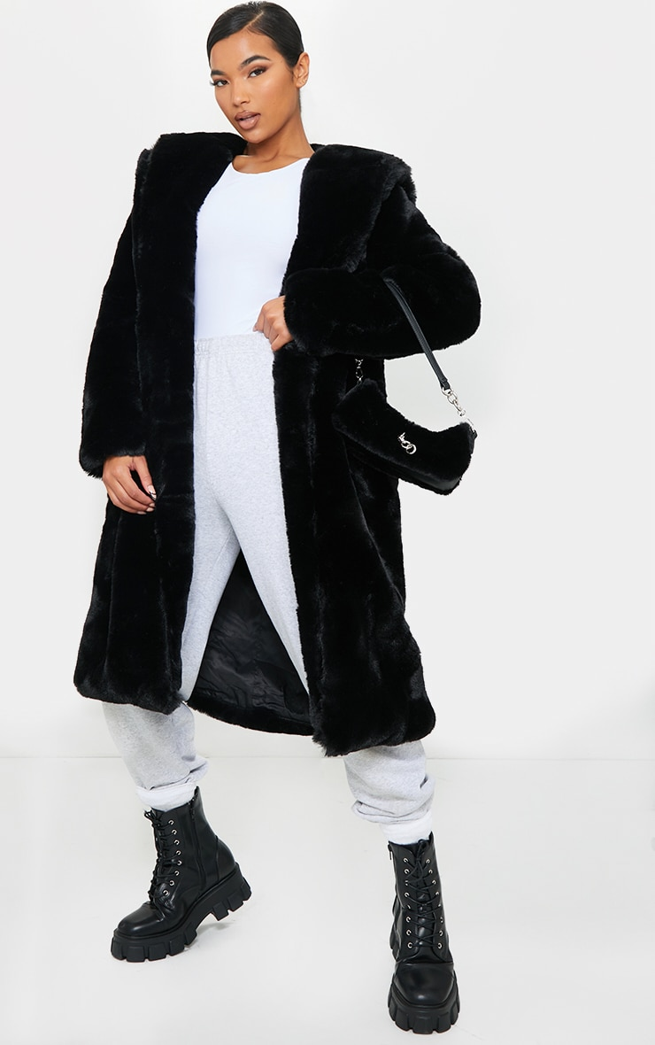Black Premium Longline Faux Fur Hooded Coat 4