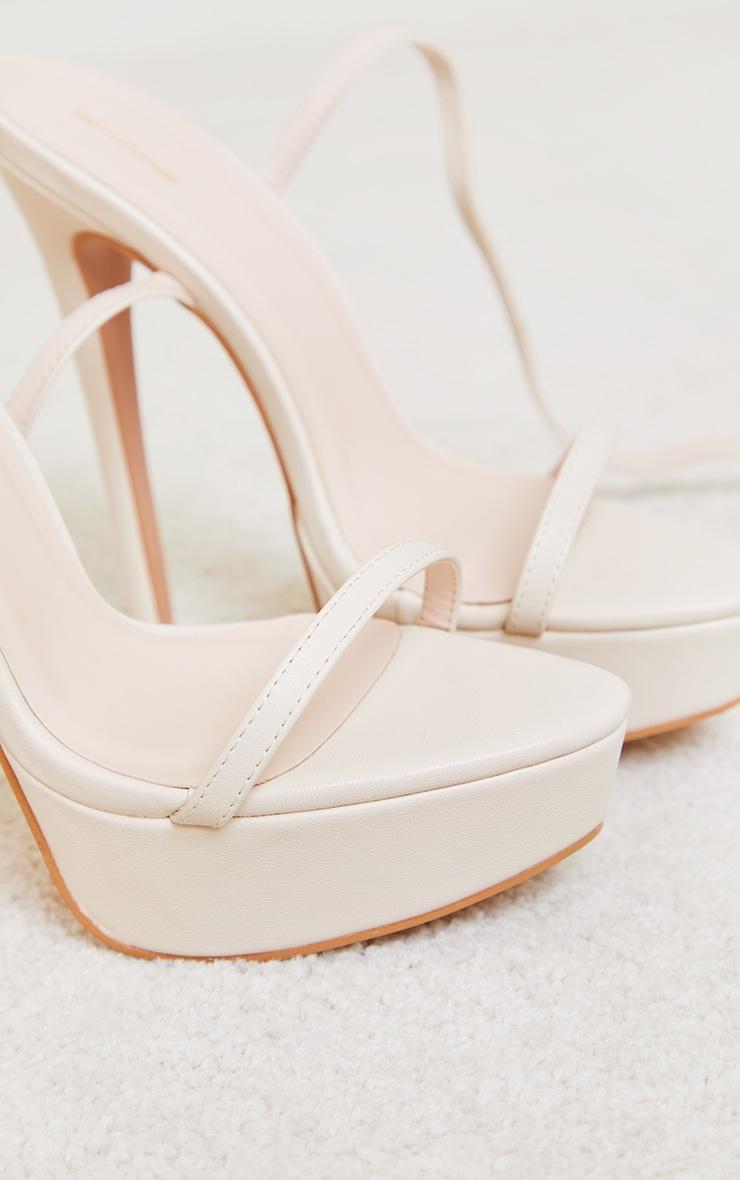 Cream PU Platform Strappy High Heel 3