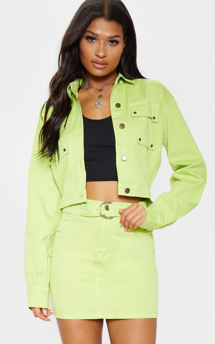 Veste courte en jean vert citron oversize style camionneur 1