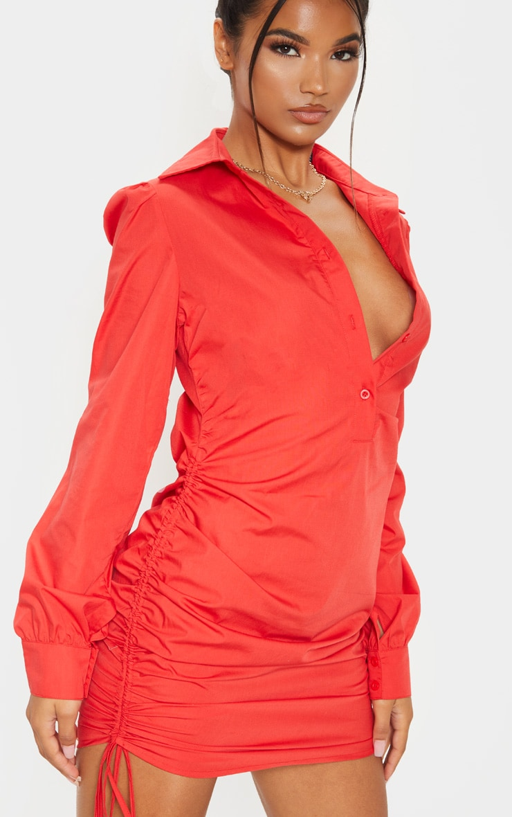 Red Ruched Side Fitted Shirt Dress 5