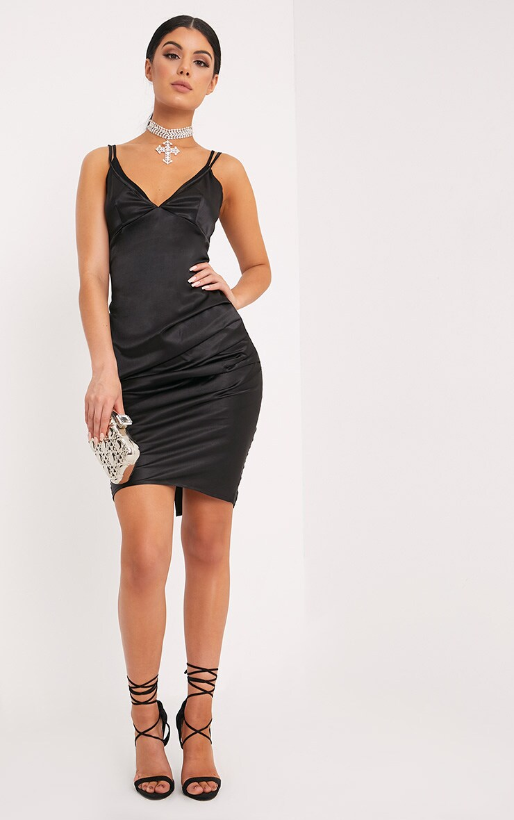 Amber Black Satin Mesh Bralet Midi Dress 4
