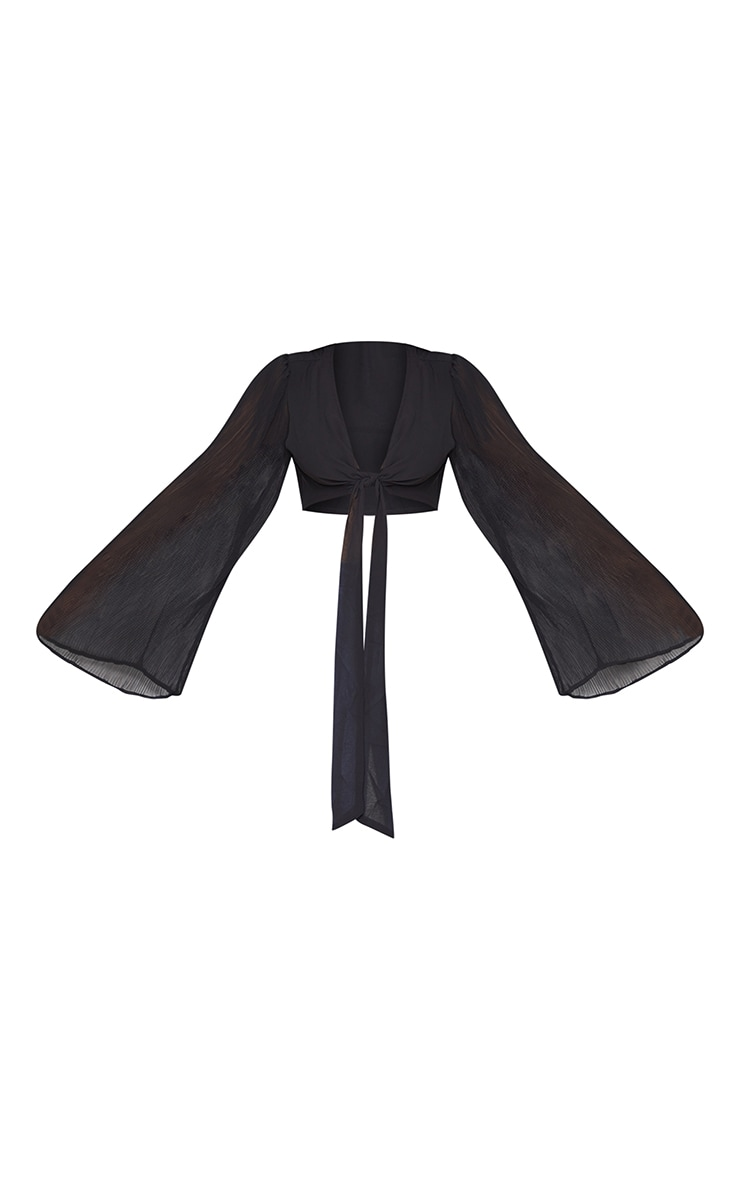 Plus Black Plisse Sleeve Tie Front Blouse 5