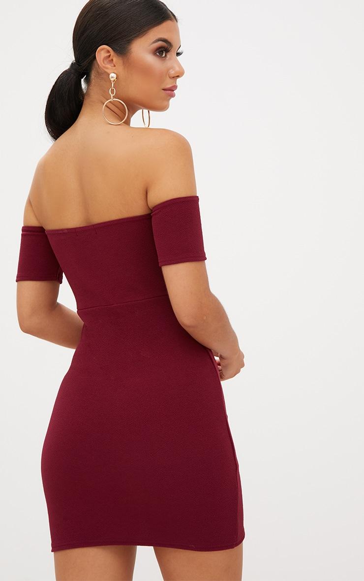 Burgundy Bardot Wrap Front Bodycon Dress  2