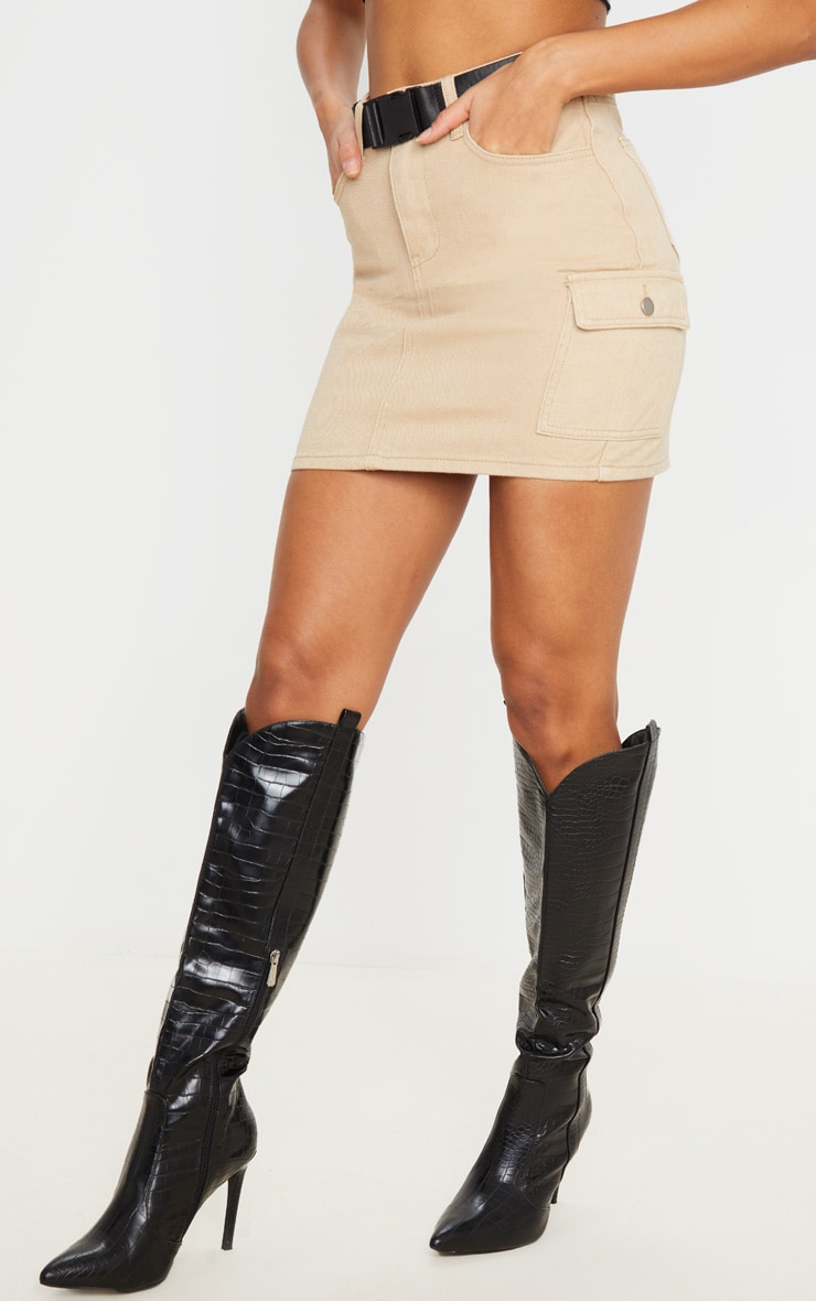 Stone Denim Utility Belted Skirt 2