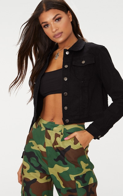 71341821ba3 Black Cropped Denim Jacket
