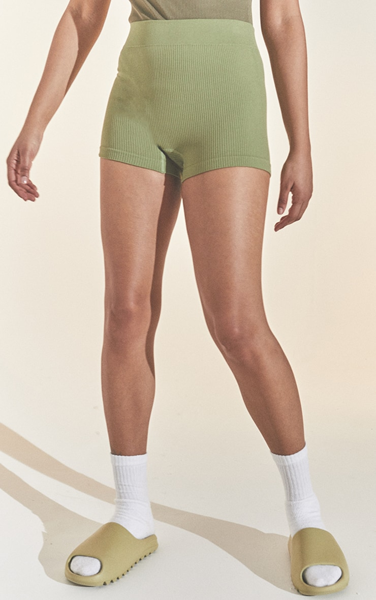 Khaki Structured Contour Rib Hot Pant 2
