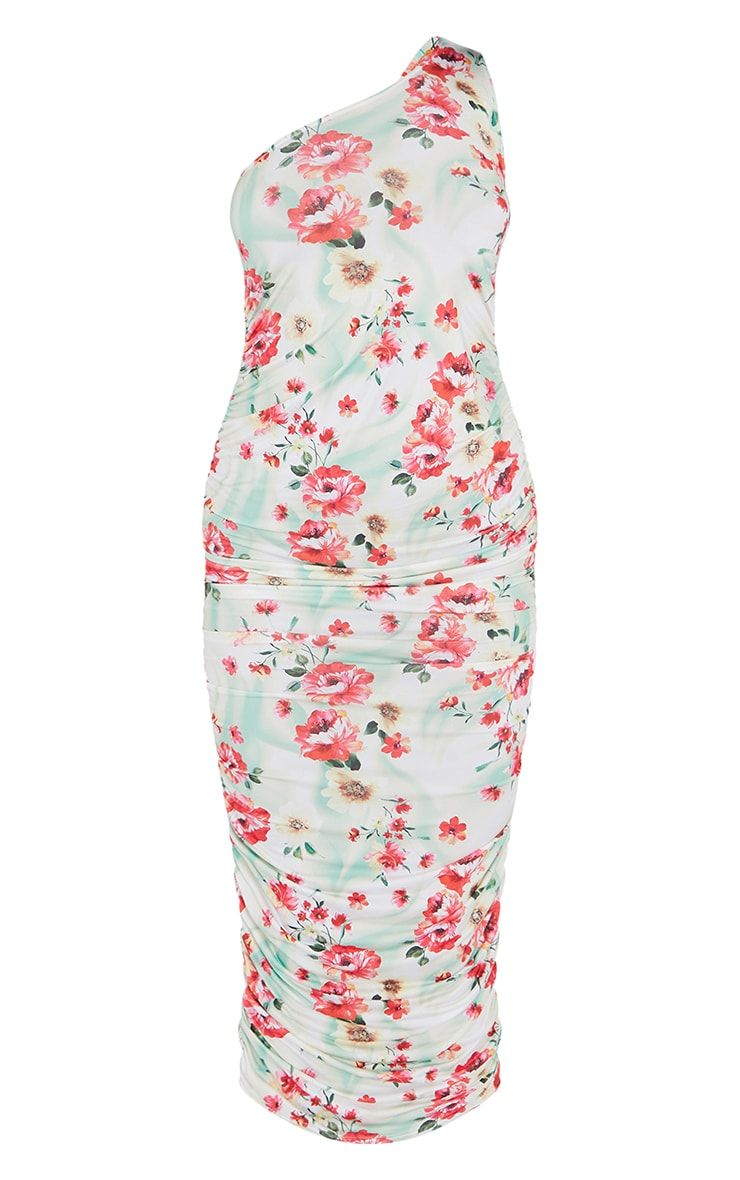 Multi Floral Print Slinky Ruched Midaxi Dress 5