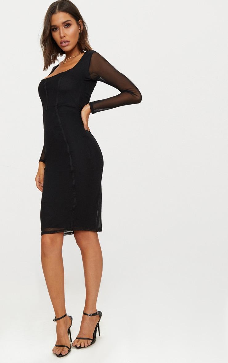 Black Mesh Square Neck Panelled Midi Dress 4