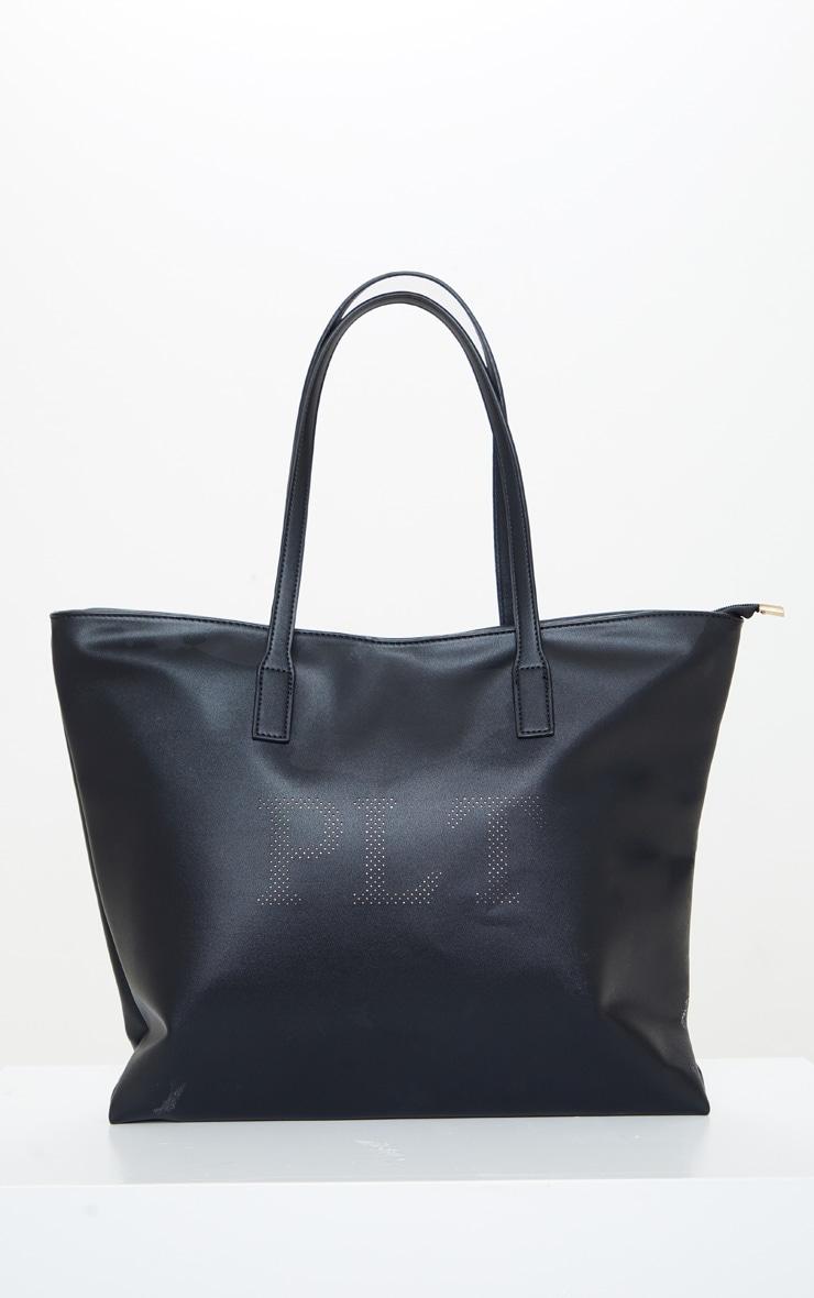 PRETTYLITTLETHING Black PU Tote Bag 1