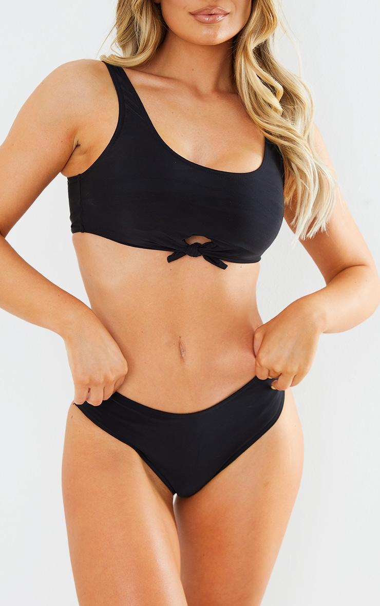 Black Recycled Fabric Cheeky Bikini Bottoms