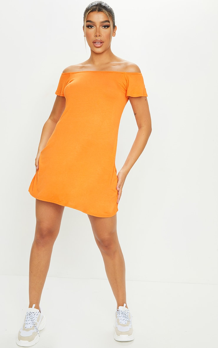 Orange Jersey Bardot Shift Dress 3