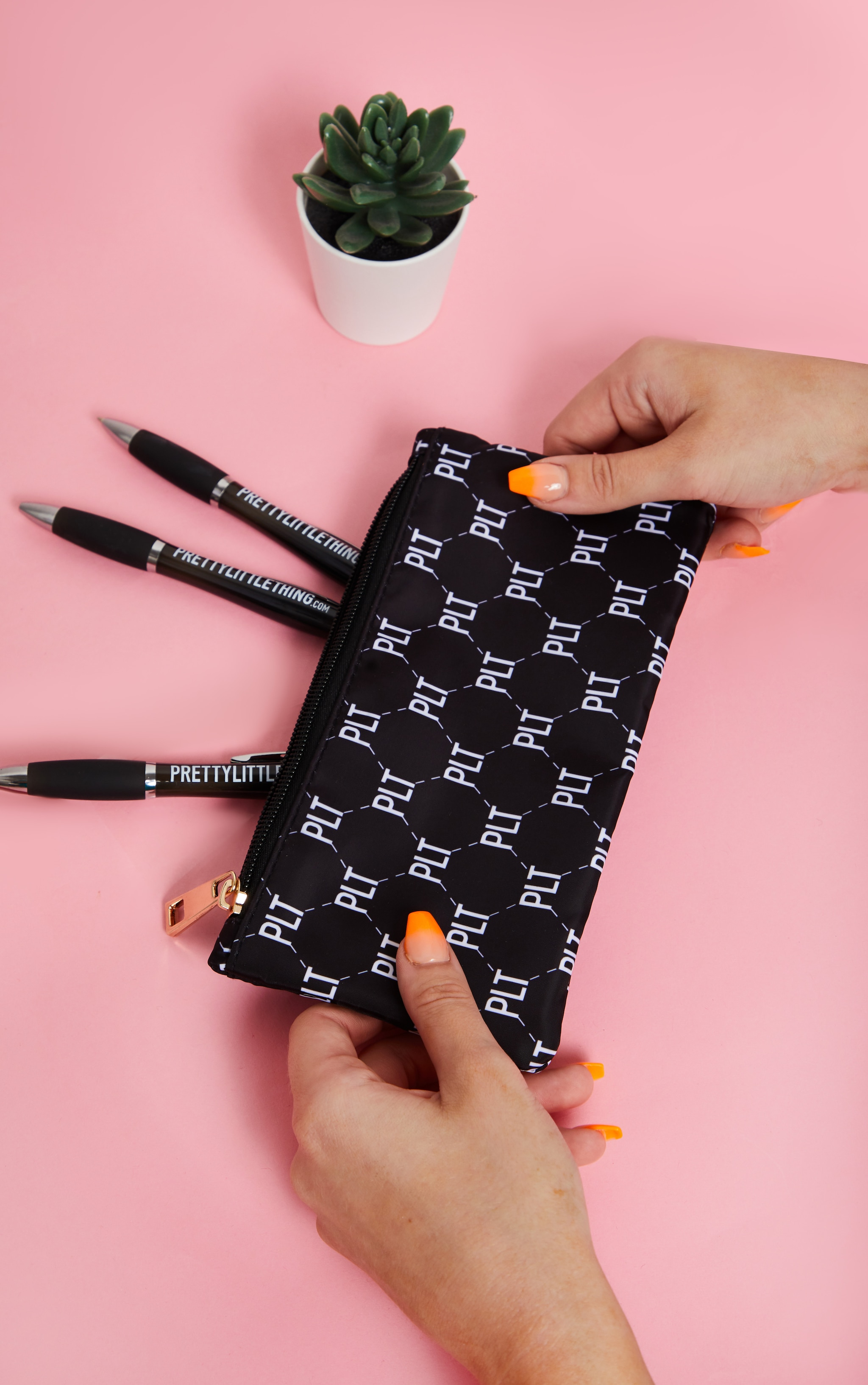 PRETTYLITTLETHING Monogram Monochrome Pencil Case 1