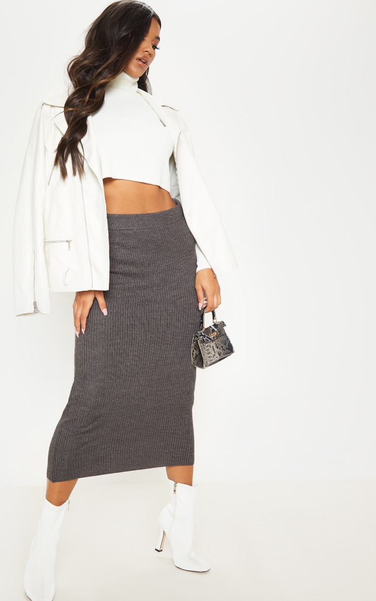 Grey Rib Knitted Midi Skirt