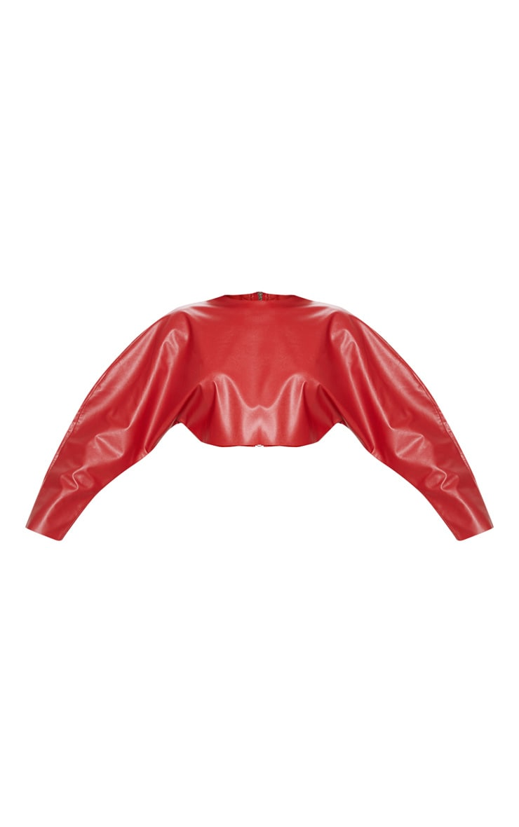 Red Faux Leather Crop Sweater 3