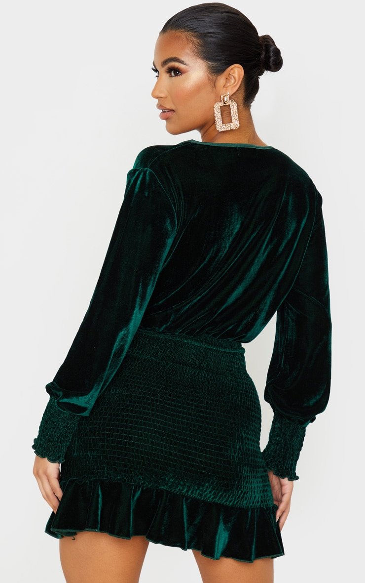 Emerald Green Velvet Shirred Wrap Front Bodycon Dress 2