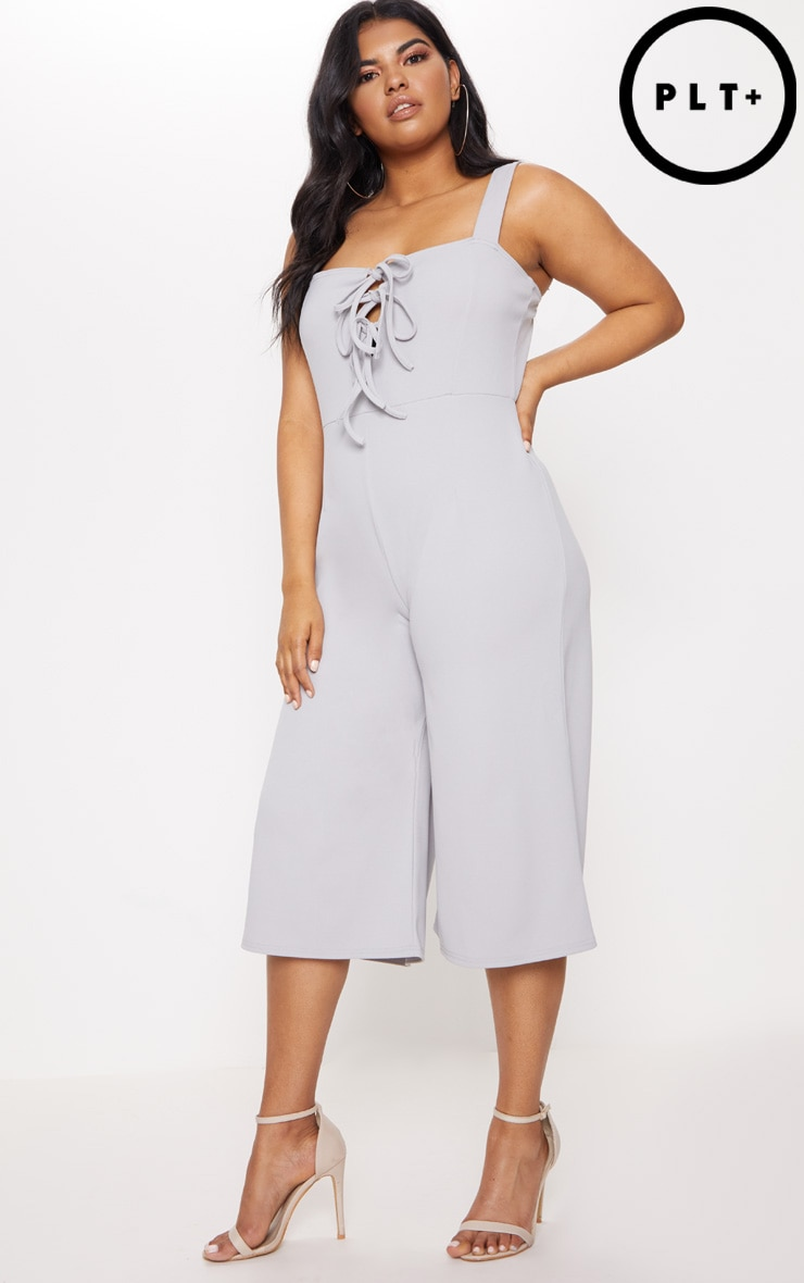 Plus Ice Grey Lace Up Detail Wide Leg Culotte Jumpsuit