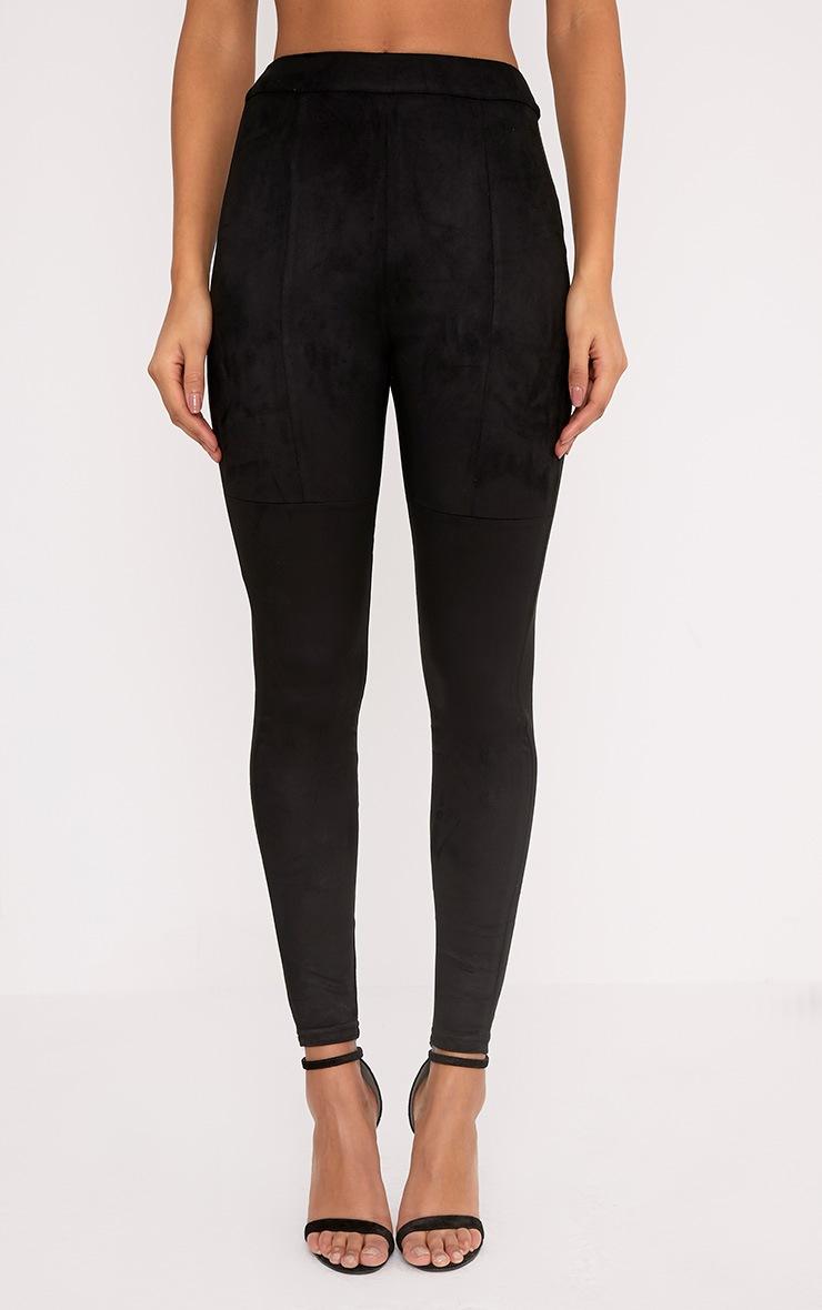 Elsie legging taille haute imitation daim noir 2