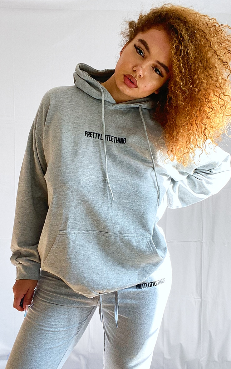 PRETTYLITTLETHING Plus Grey Embroidered Hoodie 1