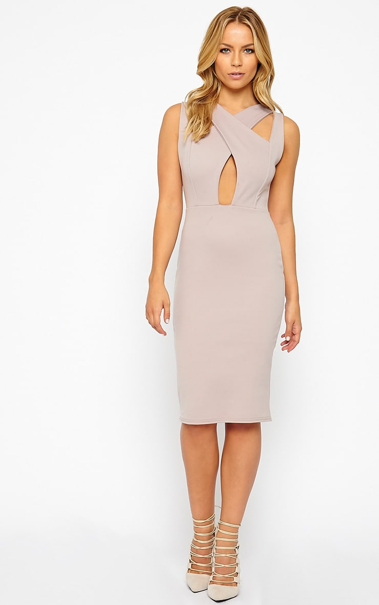 Gracen Mauve Cross Front & Back Midi Dress 3