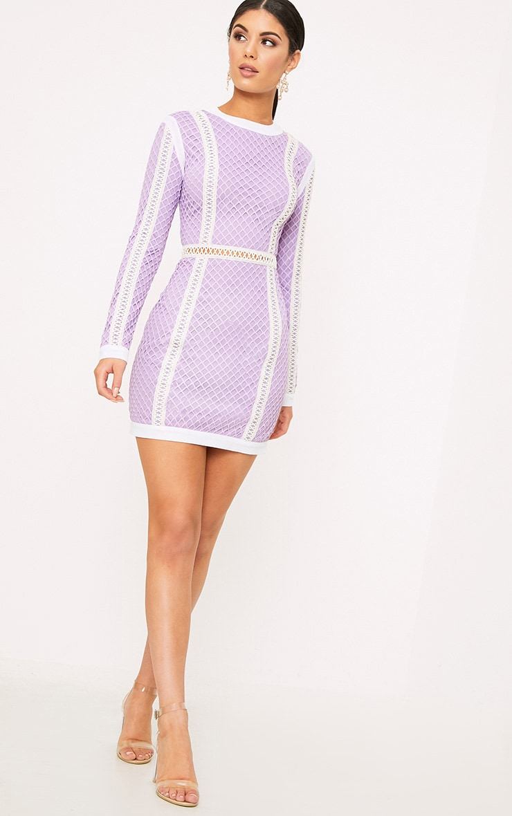 Thea Lilac Fishnet Panel Bodycon Dress 4