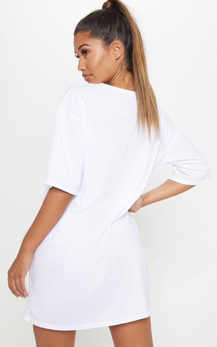 White Trust Me Slogan Boyfriend T Shirt Dress 2