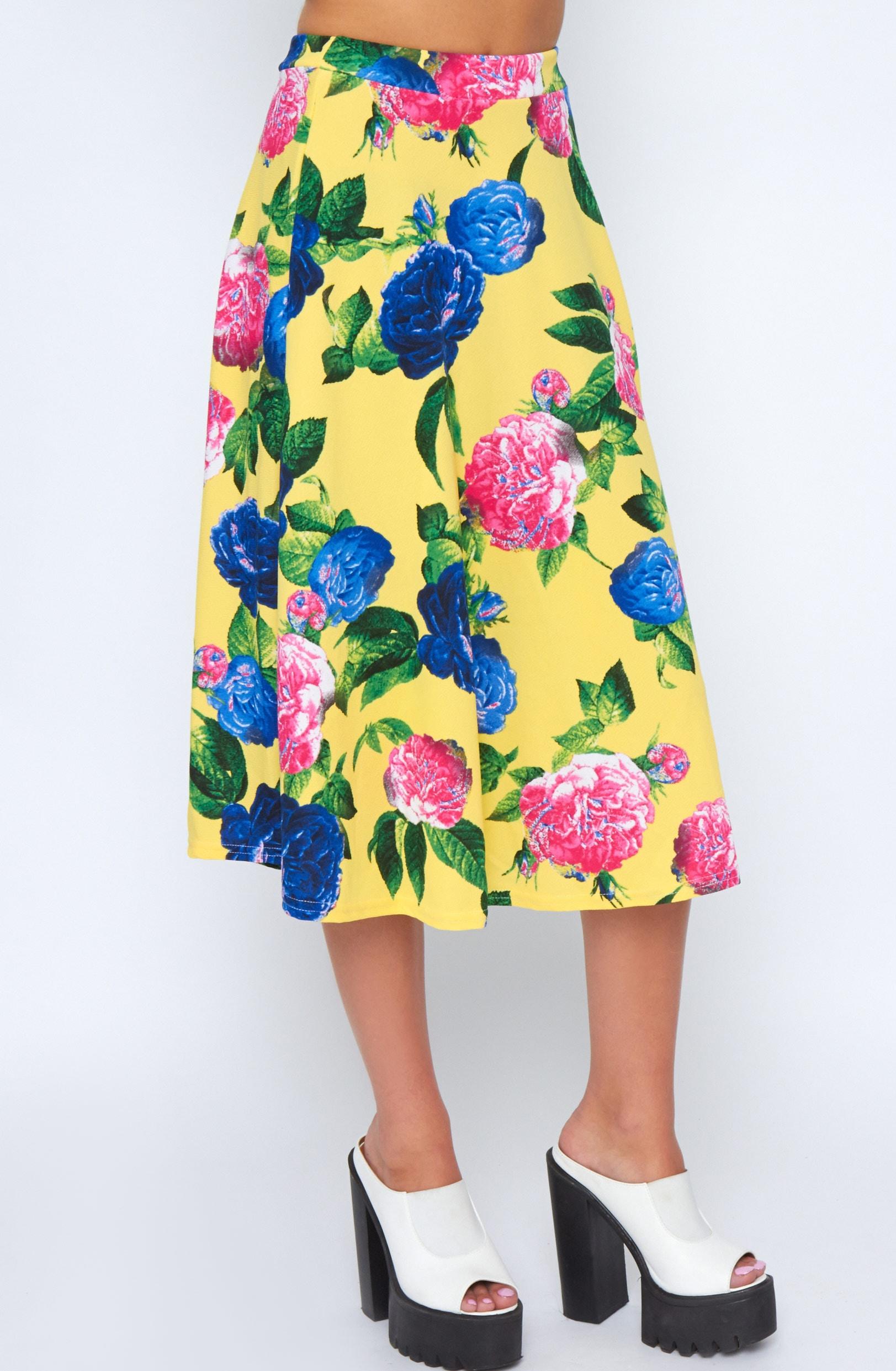 Kiera Yellow Floral Print Midi Skirt 4