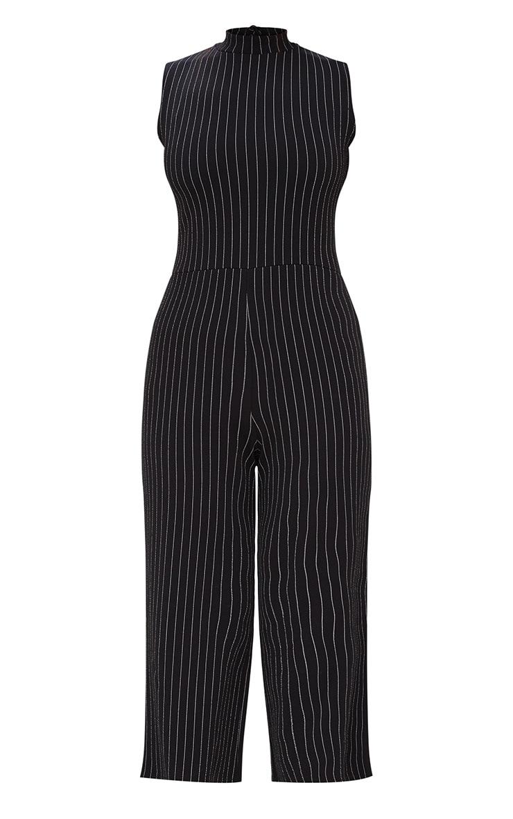 Black Striped High Neck Culotte Jumpsuit 3