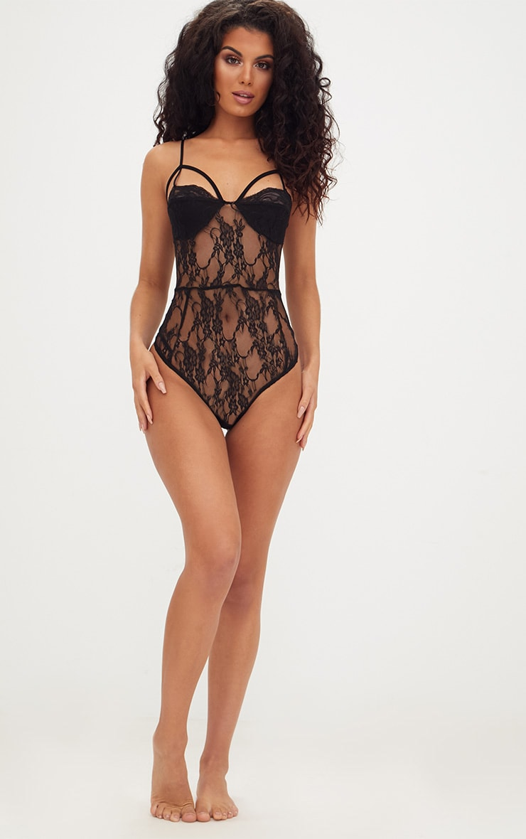 Black Strappy Cupped Lace Bodysuit 4