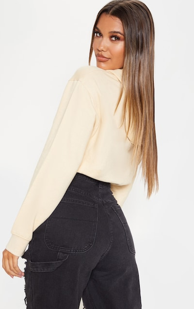 PRETTYLITTLETHING Sand Pocket Toggle Crop Hoodie