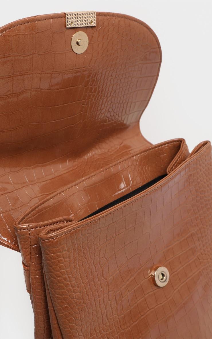 Tan Patent Croc Pu Large Backpack 5
