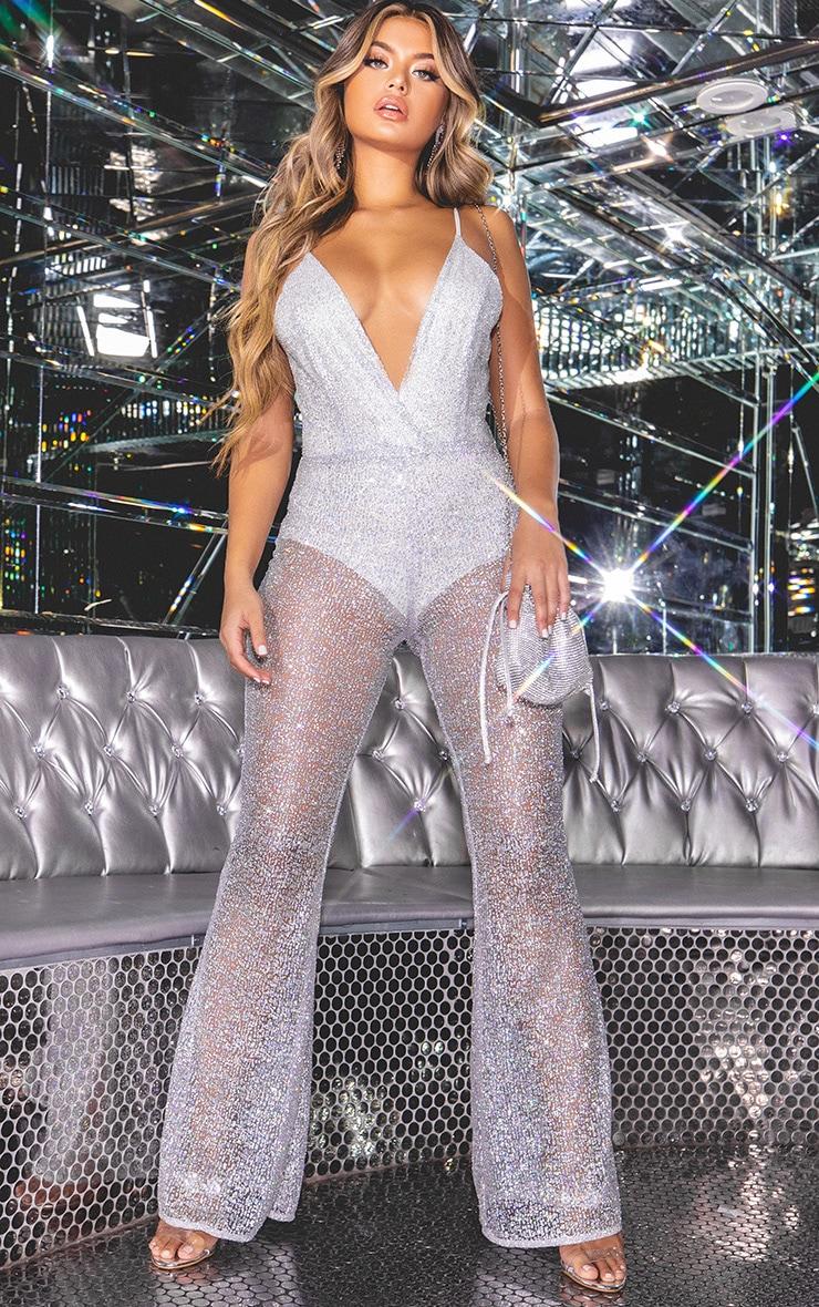 Silver Glitter Mesh Plunge Jumpsuit 1