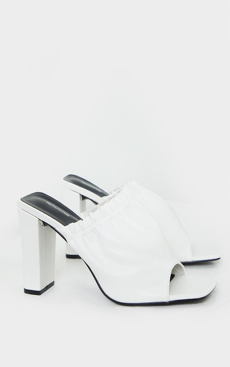 White PU Elastic Ruched Mule Heel 3