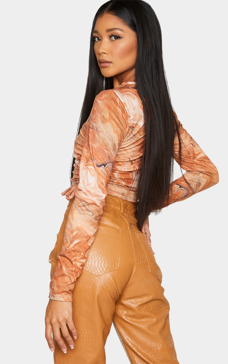 Brown Swirl Print Jersey Ruched Side Long Sleeve Top 2