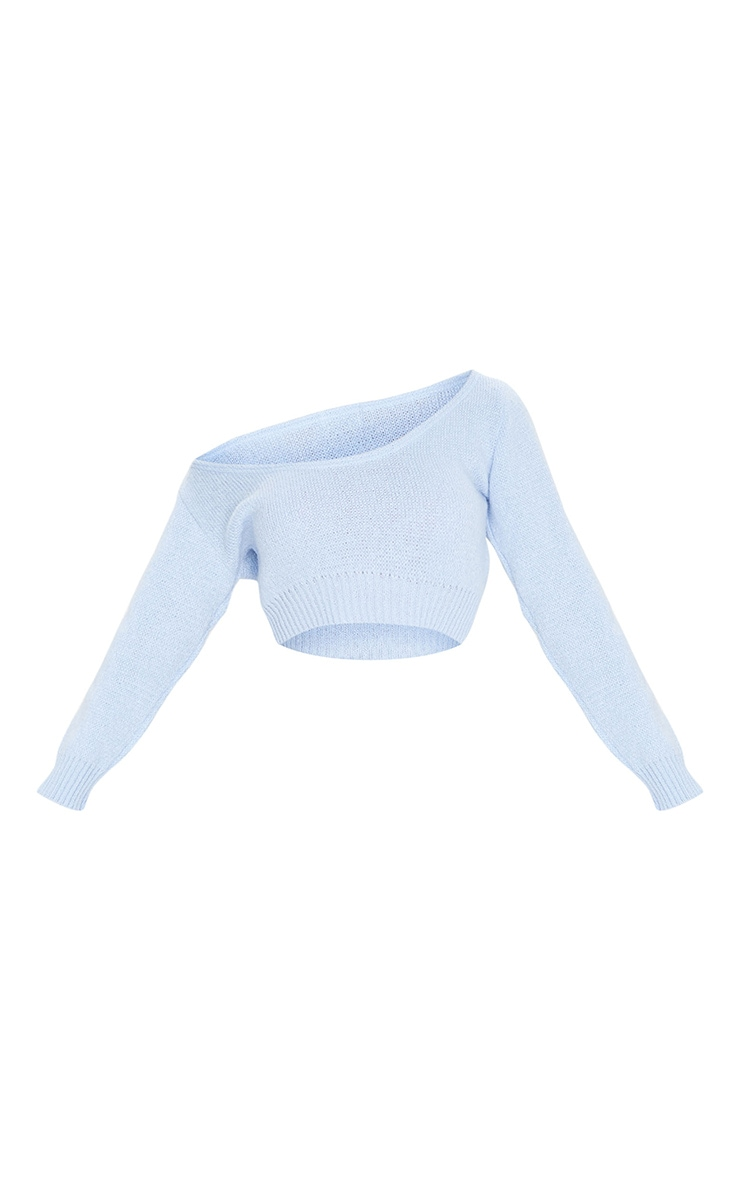 Blue V Neck Off Shoulder Knitted Cropped Jumper 5