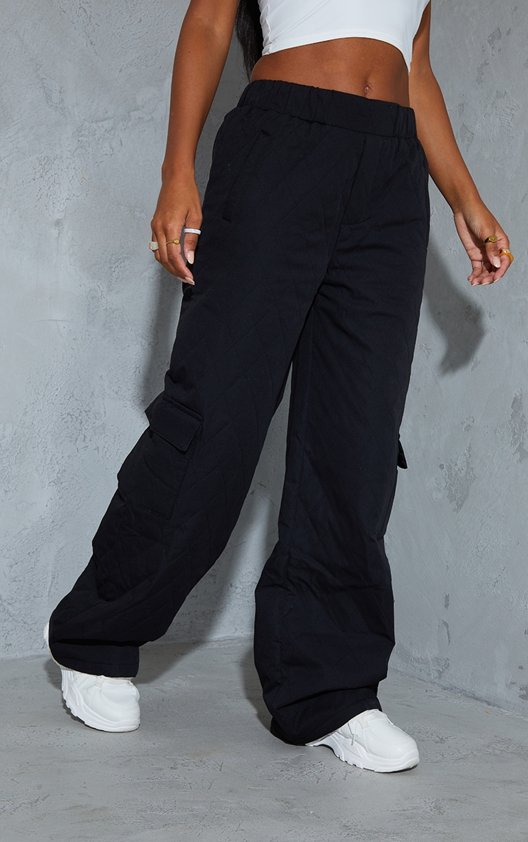 PRETTYLITTLETHING Black Woven Quilted Wide Leg Trousers 2