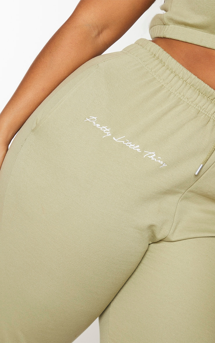 PRETTYLITTLETHING Plus Sage Green Drawstring Joggers 4